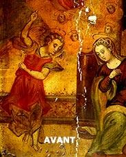 "Restauration d'un tableau d'anges ""avant"" Labrat Art Painting"