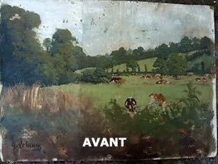 "Restauration d'un tableau un champs vaches ""avant"" Labrat Art Painting"